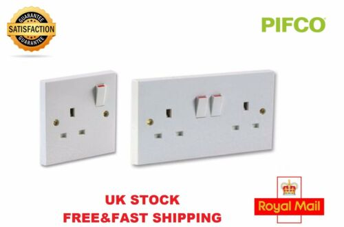 SOCKET PLUG SWITCH SWITCHED SINGLE DOUBLE BEST PRICE 13A WHITE PLASTIC CHEAP