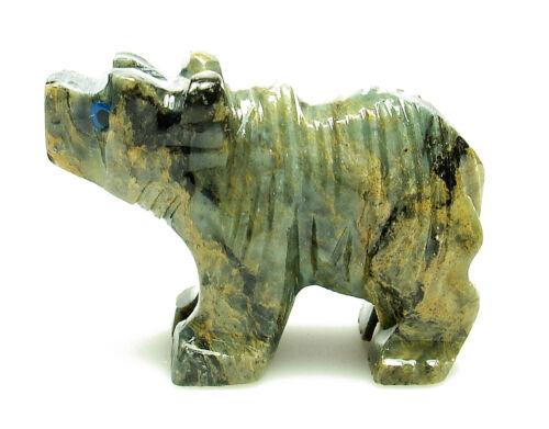 CARVED 1 DOLOMITE BEAR Spirit Animal Totem Crystal with Description Card