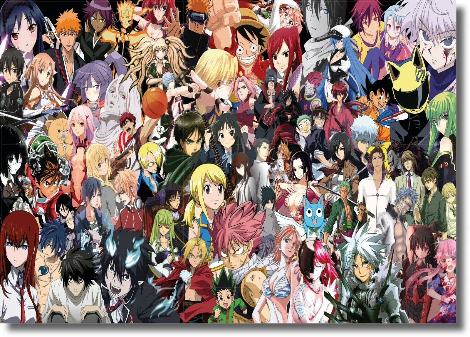 Greatest Anime Characters Collage Framed CANVAS ART PRINT - A0 A1 A2 A3 A4 Größes