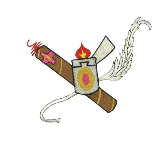 ID 5121 Cigar Lighter Patch Flame Smoke Wing Craft Embroidered Iron On Applique