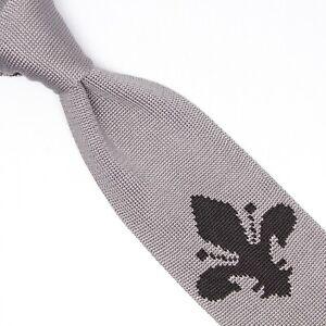 Détails Sur Gladson Hommes Réversible Tricot Cravate Soie Gris Noir Fleur De Lis Point