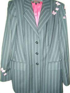 Butterfly Pink 44 Escada Couture Guabello Pinstripe Blazer Butterfly 42 vqg0w