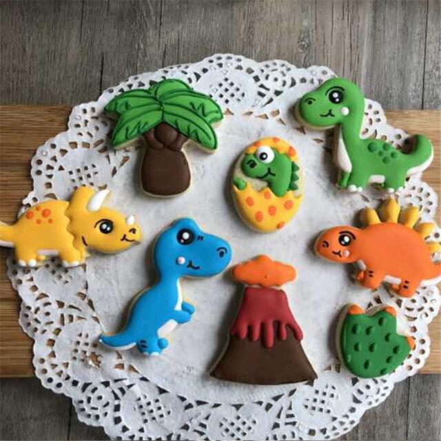 8pcs Dinosaur Volcano Cutter Sugarcraft Cake Decorating Cookies Pastry Moul Nmus