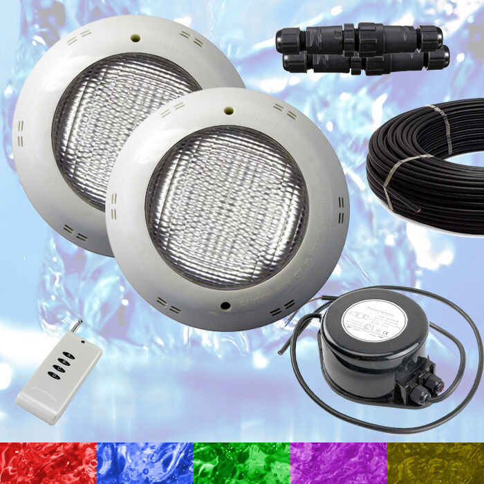 2 x Swimming Pool LED Light RGB + + + Controller + Power Supply + Cable - Retro Fit 9581f8