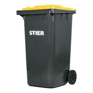 STIER Mülltonne 2 Rad Müllgroßbehälter Mülleimer 240 L Restmülltonne Grau Gelb