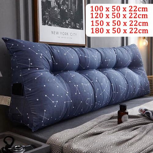 Triangular Wedge Lumbar Pillow Support Cushion Bolster Soft Headboard Dark Blue