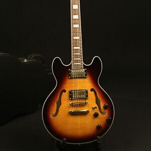 US-Stock-Electric-Guitar-Semi-Hollow-Body-Flamed-Maple-Top-Veneer-Sunburst-Color