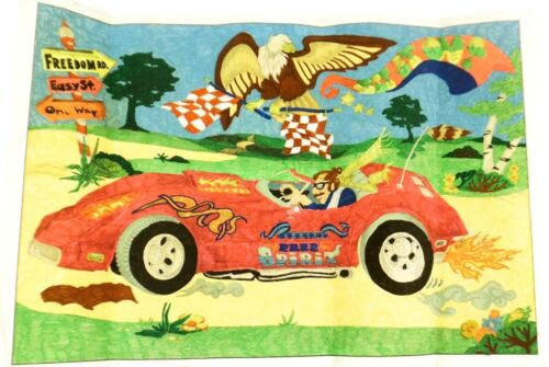Tri Chem 1970s FREE SPIRIT Cruising Convertible Fabric Painted Picture Vintage
