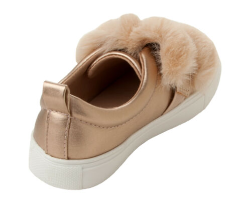 GIRLS ROSE GOLD FUR TRIM WITH PEARLS CASUAL PUMPS SHOES TRAINERS UK SIZE 10-2