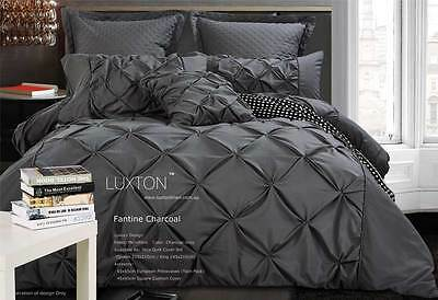 Fantine Charcoal Grey dimond pintuck 3pc SUPER KING / QUEEN Quilt Cover Set