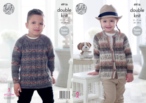 King Cole Childrens Doble Tejer patrón Raglán cableados Jumper /& Chaqueta 4916