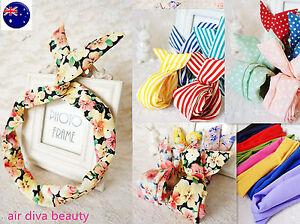 Women-Ladies-Girls-Cute-Wire-Bunny-Ear-adjustable-bow-scarf-Hair-head-band-Wrap