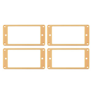 2-Set-of-Guitar-Neck-amp-Bridge-Pickup-Frames-Humbucker-Flat-Mounting-Rings-Cream