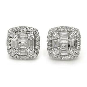 1-02-TCW-Baguette-amp-Round-Cut-Diamonds-Pair-Of-Cluster-Earrings-14k-White-Gold