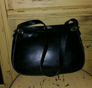 Image Is Loading Vintage Sacha Black Leather Shoulder Bag Horsebit Handbag