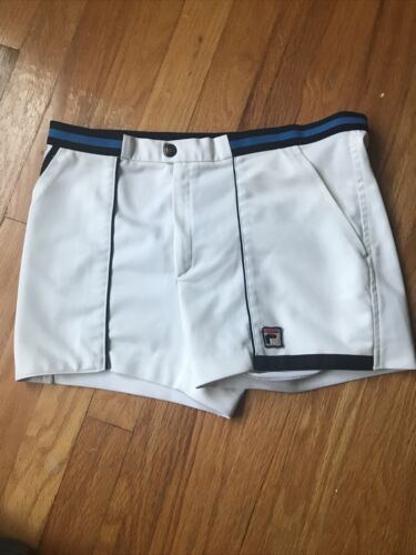 FILA Vintage 80s Mens White Tennis Shorts sz 30 Sm