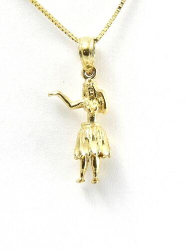 SOLID 14K YELLOW GOLD SMALL 3D HAWAIIAN HULA GIRL CHARM MOVABLE PENDANT