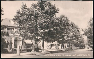 MYERSTOWN-PA-Jefferson-Street-Looking-East-Vintage-Town-View-Postcard-Old-B-amp-W-PC