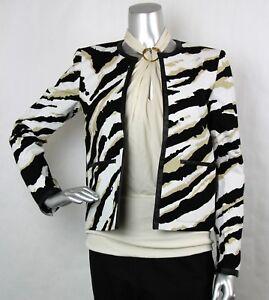 02c05f81e $2100 Authentic Gucci Women's Zebra Print Jacket w/Leather Trim 42 ...