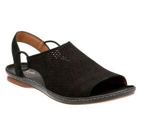Women s Shoes Clarks Sarla Cadence Nubuck Perforated Sandals 24088 ... df9ecc3b95e