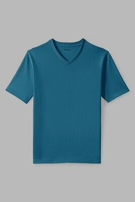 NEW WOMENS LANDS END S//S  RELAXED V NECK T SHIRT-CONCORD BLUE-MEDIUM PETITE