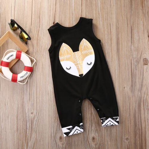 Newborn Baby Boy Girl Fox print Romper Jumpsuit Playsuit Outfits Clothes Sunsuit