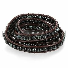 Men's Hand Woven Leather Bracelet Bangle Cuff Rope Bead 3 Wrap Adjustable Cool
