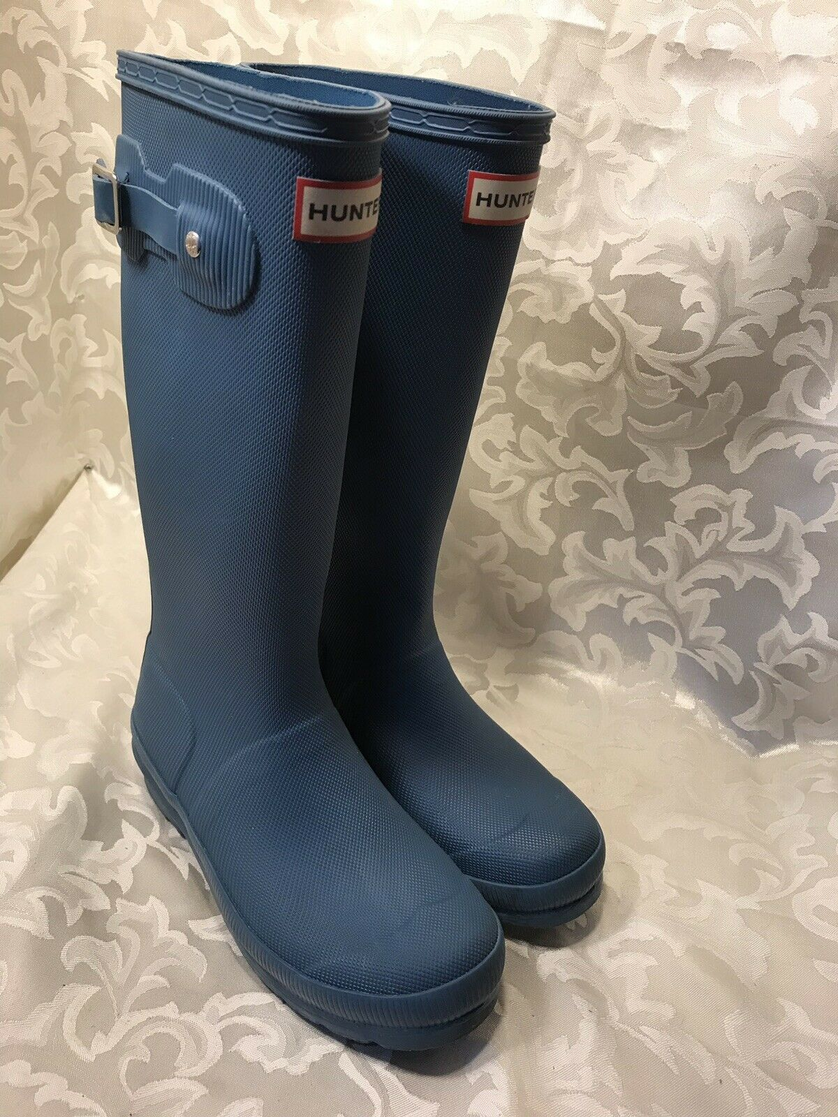 Hunter Sz 5 Denim Bleu mat texturé Caoutchouc Tall Bottes de pluie rainbottes Nice