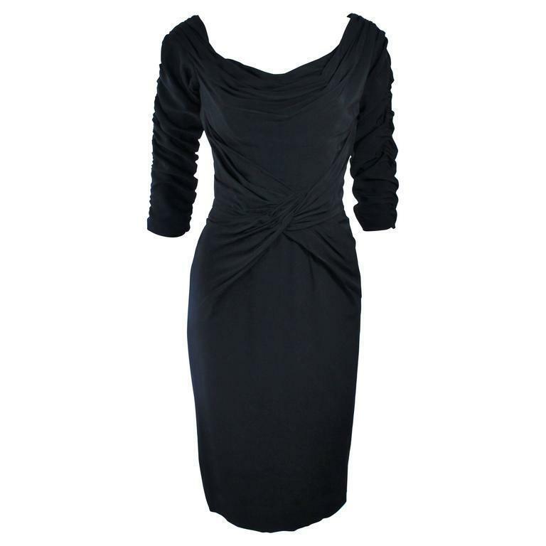 CEIL CHAPMAN Black Gathered Cocktail Dress Size 4… - image 1