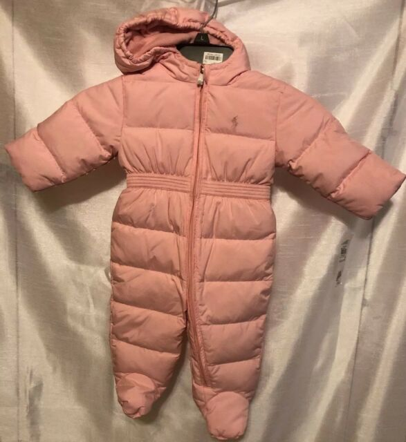 0f96a7c211b0 Authentic Polo Ralph Lauren Baby Girls Quilted Down Bunting Snowsuit ...