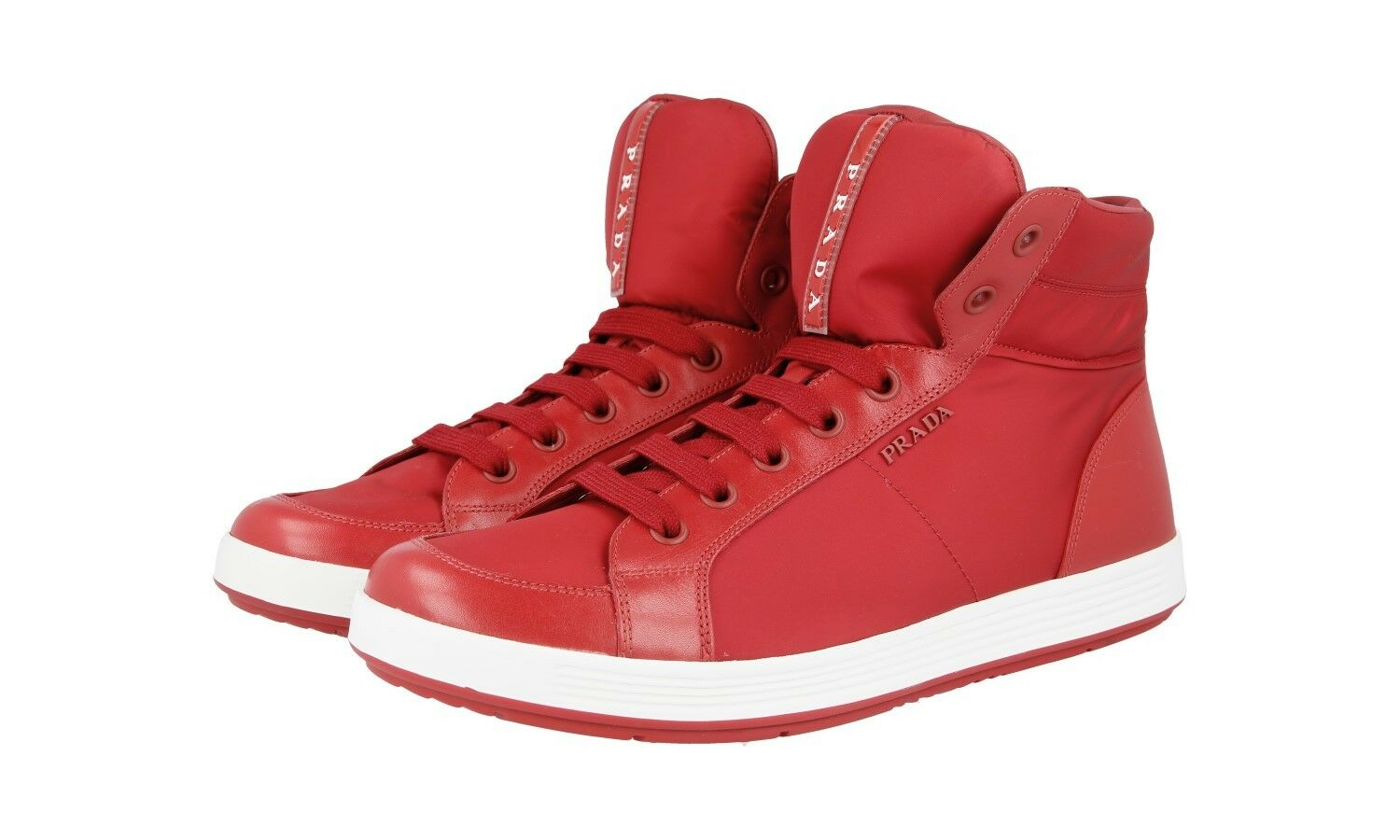 LUXUS PRADA HIGH TOP SNEAKER SCHUHE 4T2842 red NEU NEW 11 45 45,5