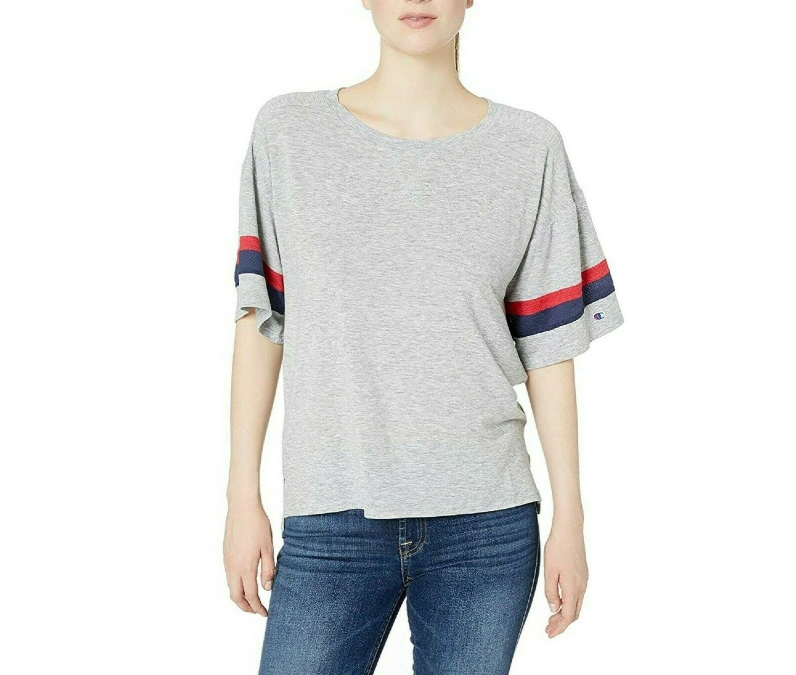 Champion Women's Gym Issue Football Tee Oxford Gray Size L