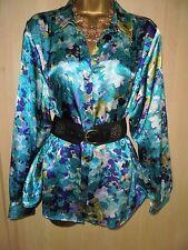 Stunning Glossy  satin  governess secretary shirt blouse  cd/tv size 18