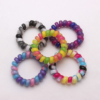 5 Pcs Ponytail Hair Tie Band Spring Coil Phone Wire Holder Variety Color No 02