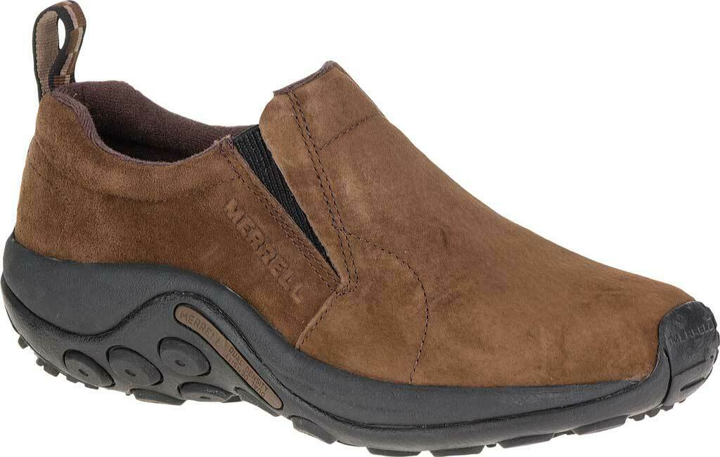 NEW Mens MERRELL Jungle Moc Slip On Dark Earth Brown SUEDE LEATHER Hiking Shoes