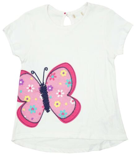 Girls T-Shirt Top Butterfly Flower Applique Cotton Tee Baby 6 Months to 3 Years