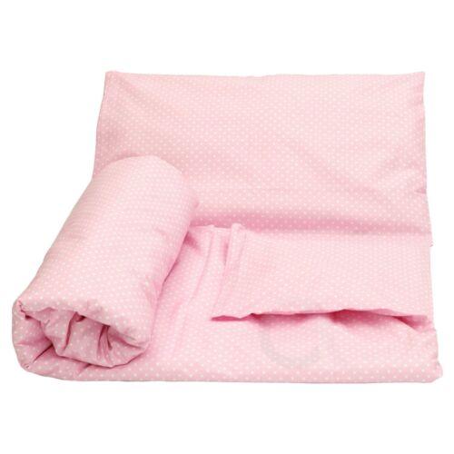 Cot Duvet Cover and Pillowcase Set 90 x 120 cm 100/% COTTON white dots pink