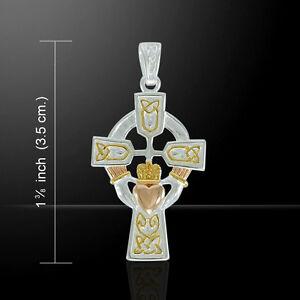 Celtic Cross and Irish Claddagh Three Tone Pendant by Peter Stone