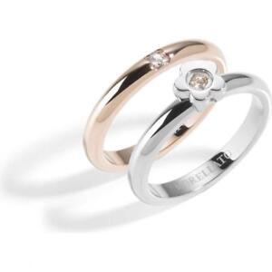 Doppio Anello MORELLATO LOVE RINGS SNA33018 Fiore Acciaio Rosè Misura 18