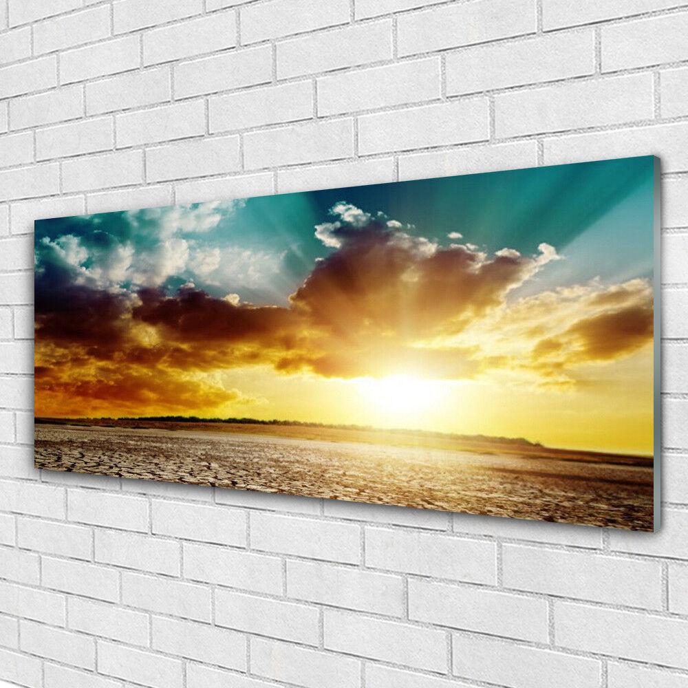 Verre Imprimer Wall Art Image 125x50 Photo soleil nuages Désert Paysage