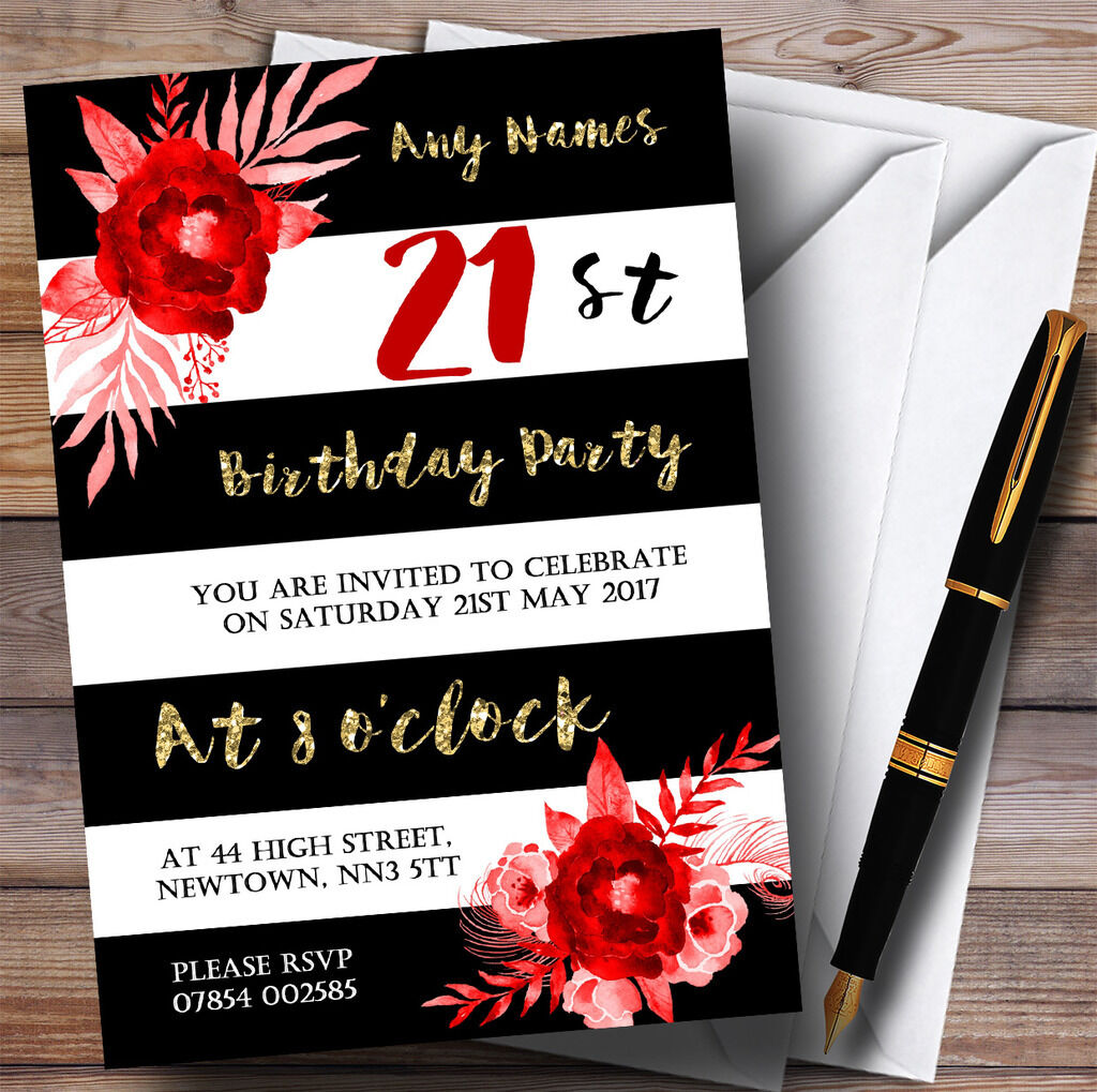Black White Flower Striped Gold Red Flower White 21st Personalised Birthday Party Invitations 541acc