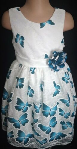 Teal Blue Green Ivory Butterfly Flower Girl Wedding Eid Summer Party Dress 2-12y