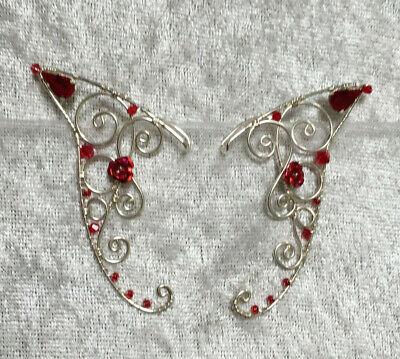 Peridot Crystal Wire Elf Ears in Sterling Silver