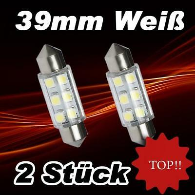 2 x SMD LED Soffitte Lampe C5W 39mm 12V Xenon weiss hell Innenraum Beleuchtung