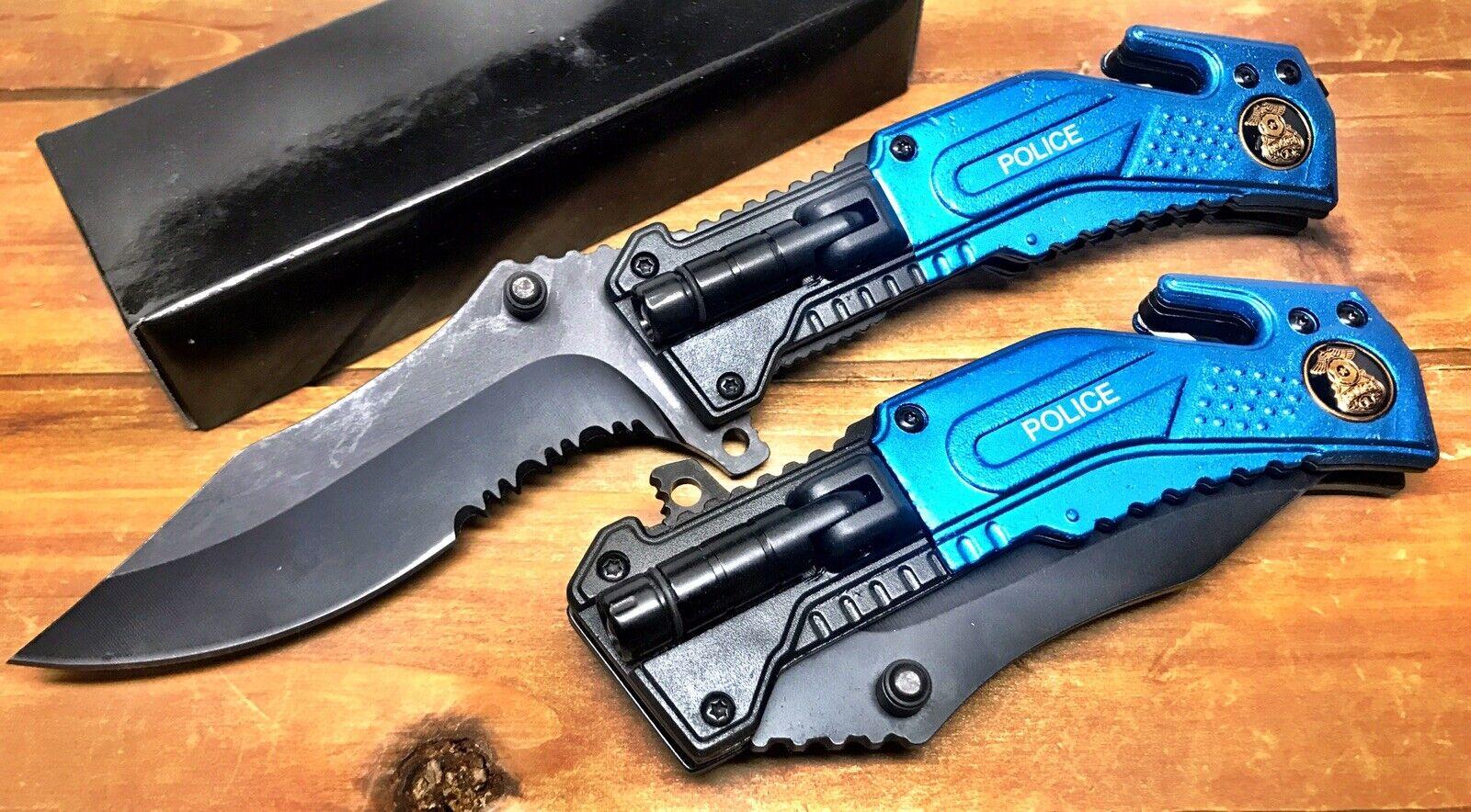 8.25″  Spring Assisted Police Pocket Knife with Glass Breaker & LED Blue 09