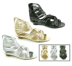 fbf6eee87f1e LADIES WOMENS LOW HEEL WEDGE SUMMER SANDALS STRAPPY GLADIATOR SHOES ...