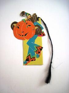 Vintage-Halloween-Bridge-Tally-w-Clown-Holding-Large-Pumpkin-Gold-Accents