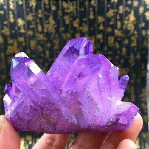 Purple Titanium Rainbow Aura  Lemurian Quartz cluster Crystal Point healing 1pc