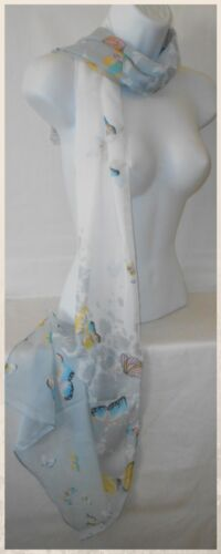 048 Scarf,Silky Chiffon,Butterflies,Floral...Silky Chiffon Butterflies Scarf