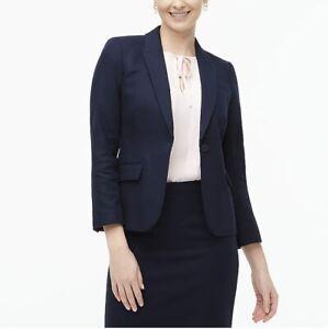 J.Crew Womens One Button Blazer Suit Jacket Size 4 Navy Blue Cotton Classic
